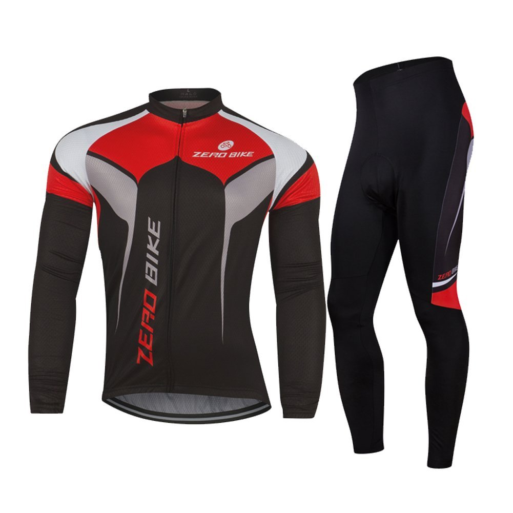 ZEROBIKE Men's Fleece Thermal Long Sleeve Cycling Jersey Cycling Clothing Set...