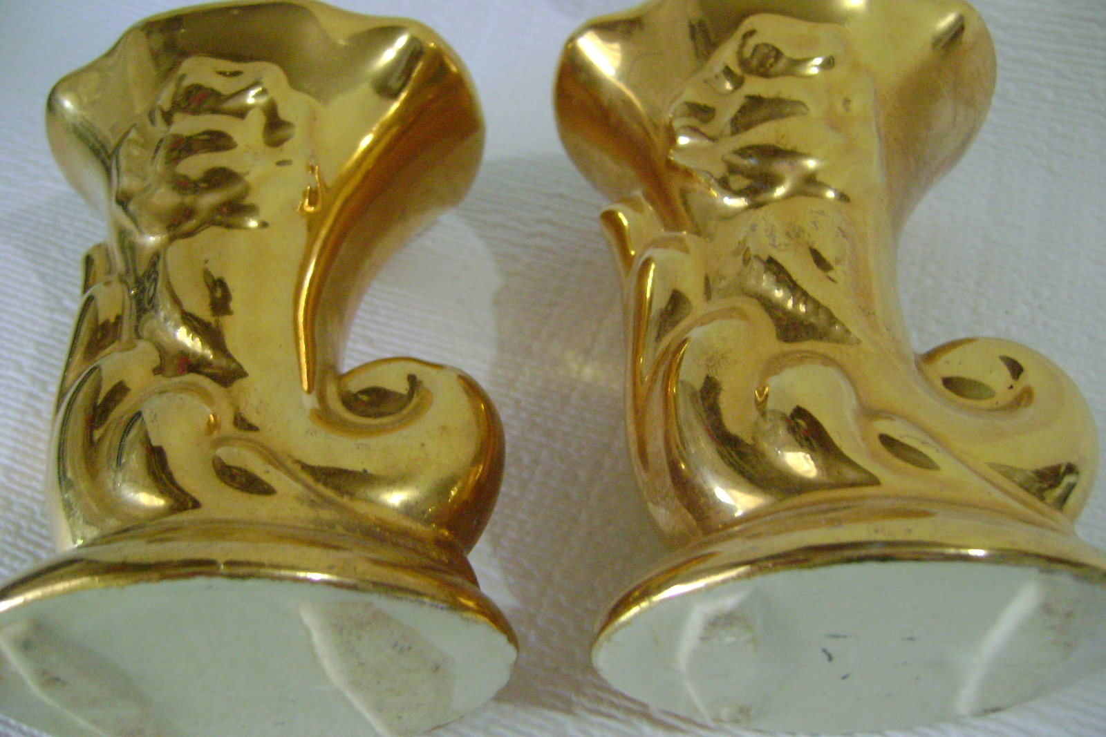Two Gold Cornucopia Pottery Bud Vases