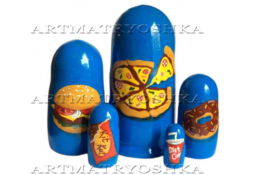 Matryoshka nesting doll Meal, pizza, burger Free worldwide shipping 6inches