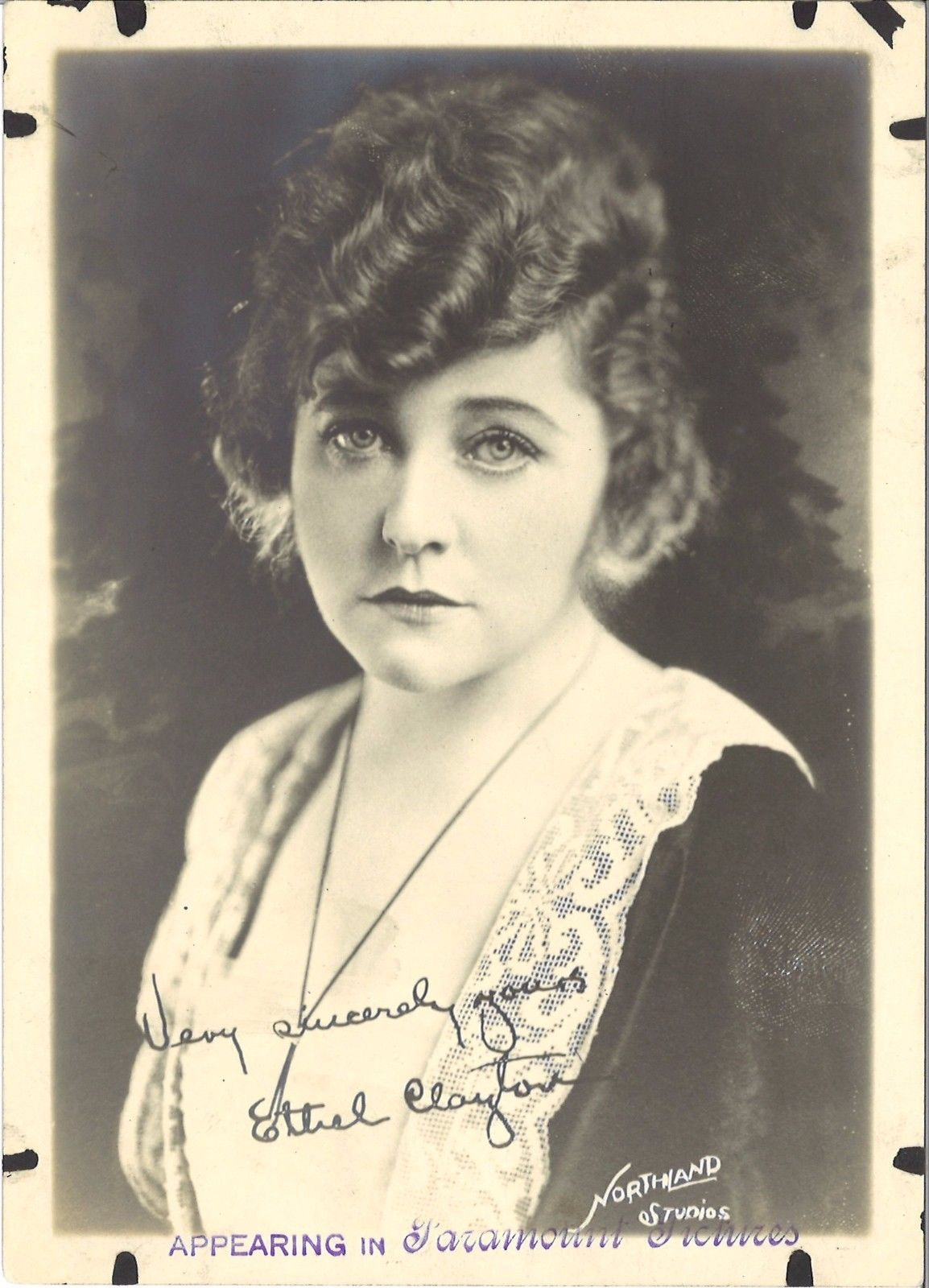 "ETHEL CLAYTON (c.1920's) Silent Film 5x7 ""Fan Photo"" With Facsimile Signature"