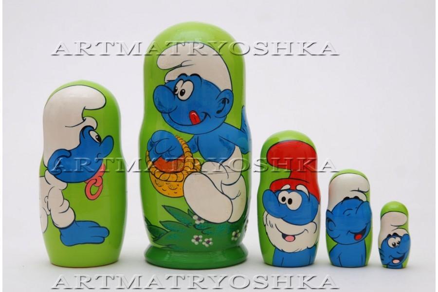 "Matryoshka nesting doll The smurfs Free worldwide shipping 4"""