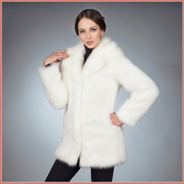 Fluffy White Imitation Mink Classic Retro Lapel Collar Long Sleeve Zip Up Coat