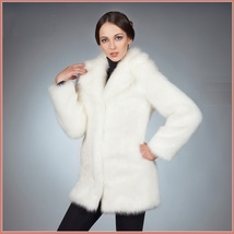Fluffy White Imitation Mink Classic Retro Lapel Collar Long Sleeve Zip U... - $211.95