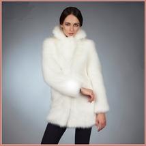 Fluffy White Imitation Mink Classic Retro Lapel Collar Long Sleeve Zip Up Coat  image 2