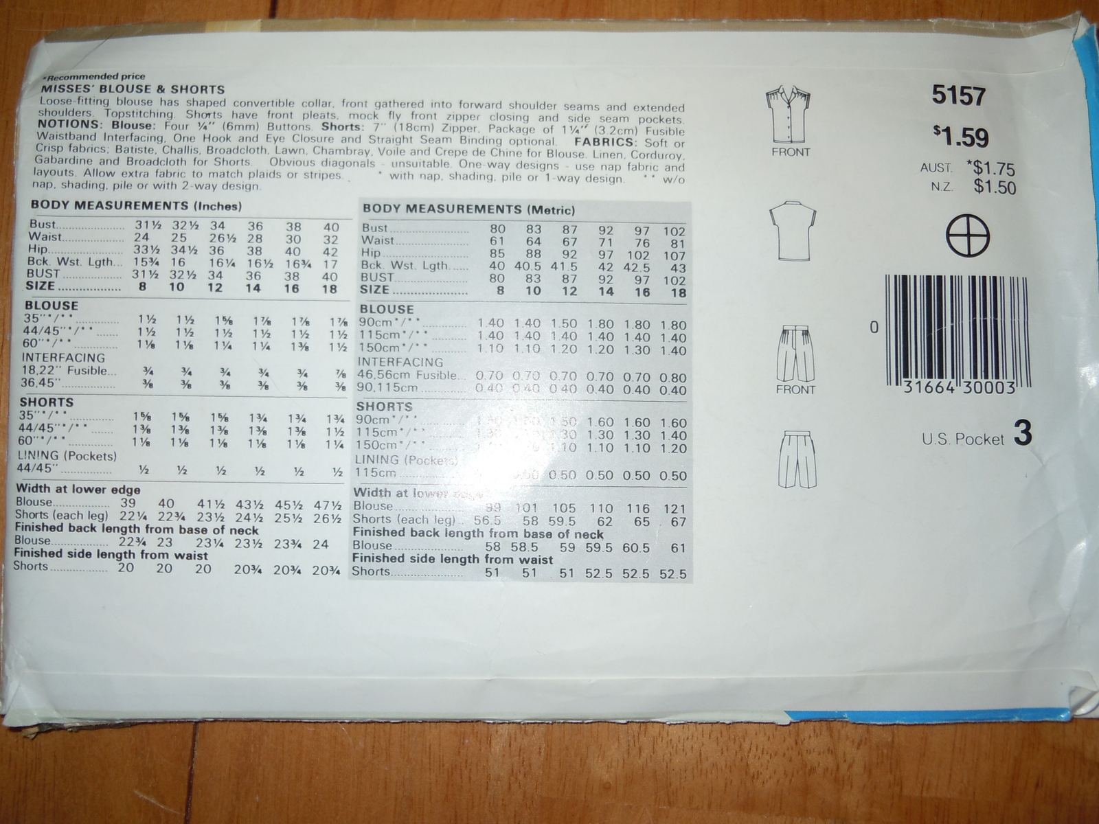 Vintage See & Sew Misses Size 8-12 Blouse Shorts Pattern #5157