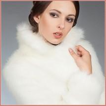 Fluffy White Imitation Mink Classic Retro Lapel Collar Long Sleeve Zip Up Coat  image 3