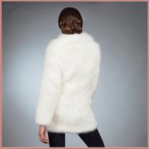 Fluffy White Imitation Mink Classic Retro Lapel Collar Long Sleeve Zip Up Coat  image 4