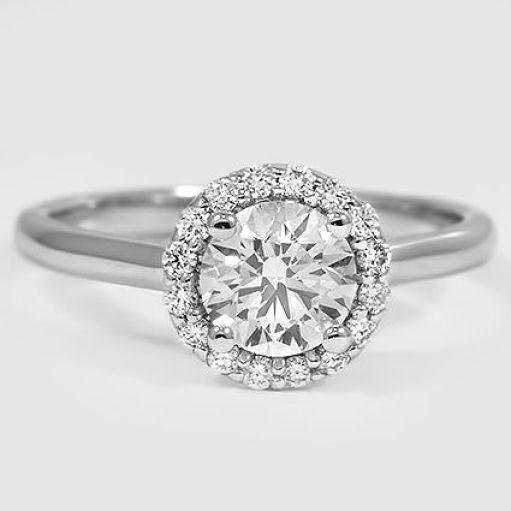 0.75CT Forever One Moissanite Halo Engagement Ring White Gold