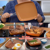 As Seen on TV Non stick Deep Square Copper Frying Chef Ceramic Pan 10 In... - $30.99