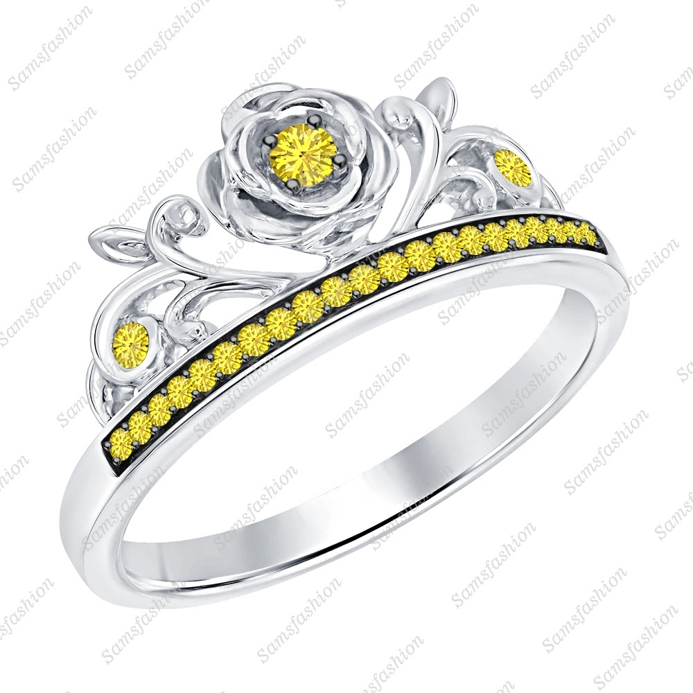 Primary image for Round Yellow Sapphire 14k White Gold Over 925 Silver Rose Flower Engagement Ring