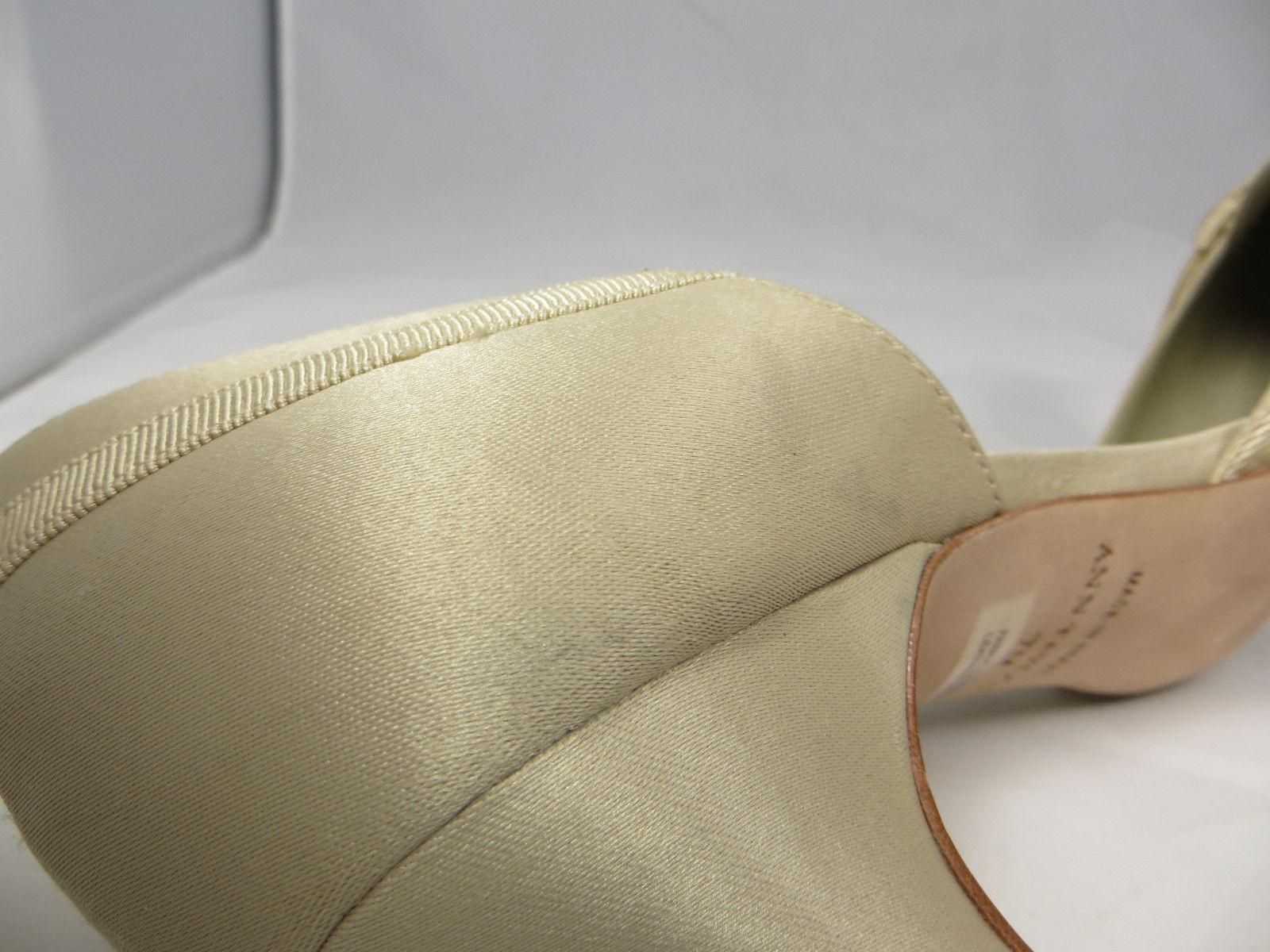 ANN TAYLOR Fabric Sateen Wedding Pumps Heels Beige Cream Leather Sole 7 M Brazil