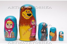 Matryoshka nesting doll Masha and bear Free worldwide shipping 6 inches - $54.90