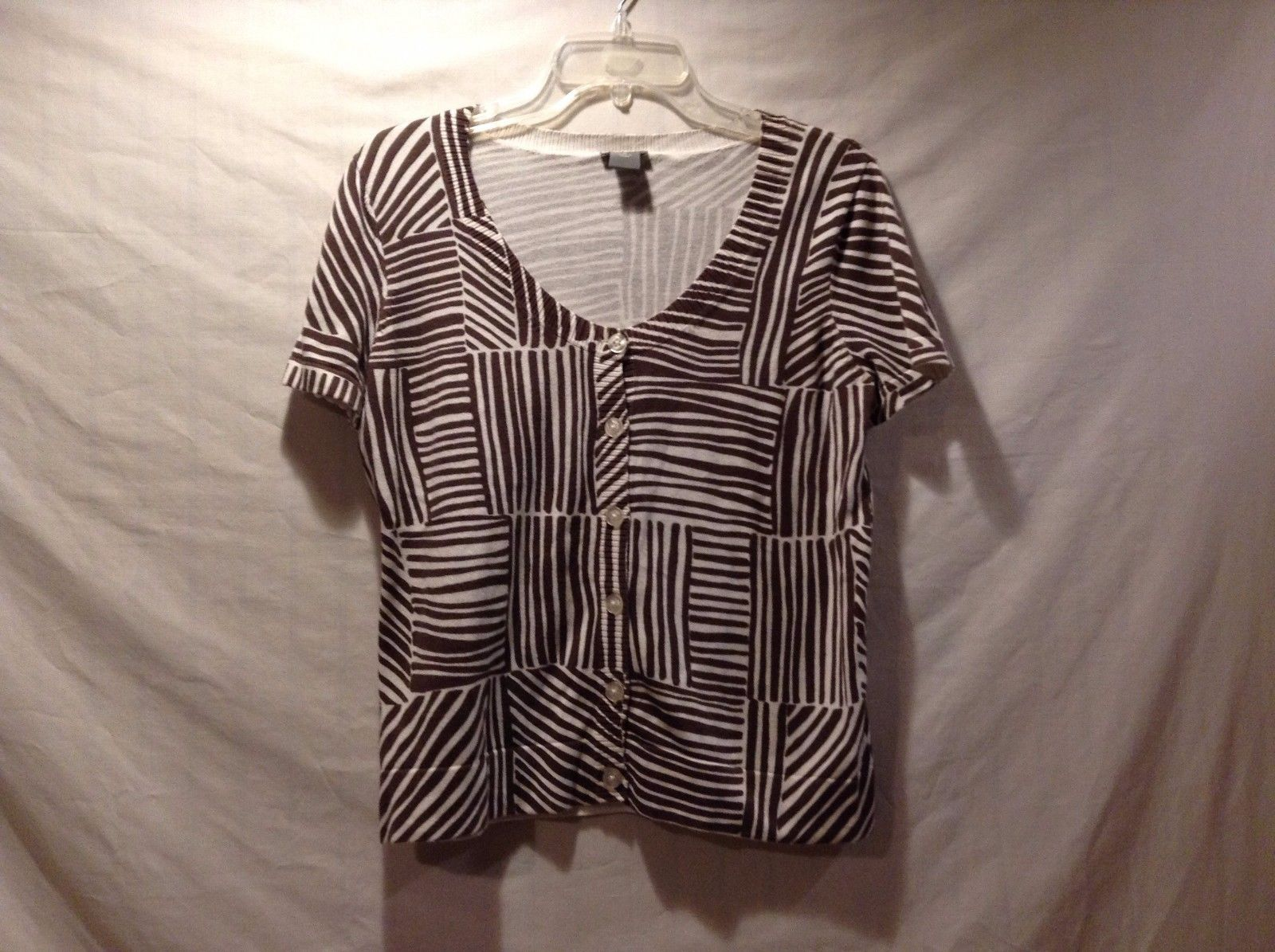 Great Condition Ann Taylor Medium Brown White Zebra Buttoned Blouse 100% Cotton