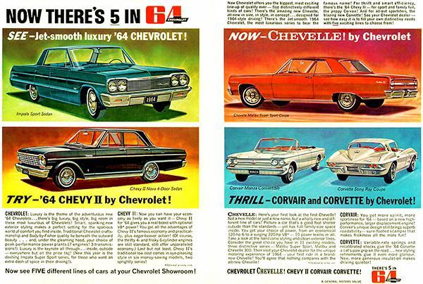 Primary image for 1964 Chevrolet Line - Now There's 5 in '64 - Promotional Advertising Poster