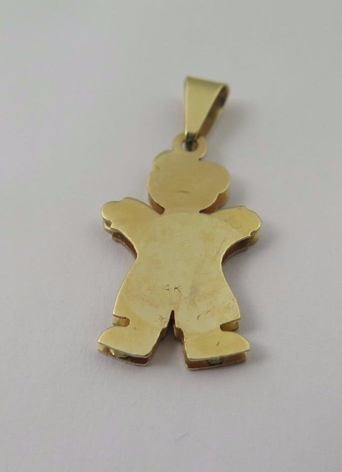 14k Two Tone Gold Double Plated Baby Boy Charm With Five Diamonds