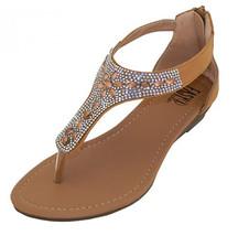 Rhinestone Jeweled Thong Gladiator Low Wedge Sandals Back Zipper Tan Bei... - $19.98