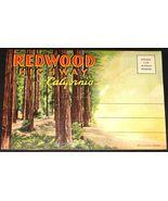1930's REDWOOD HIGHWAY CALIFORNIA Antique POSTCARD FOLDER Curt Teich 6.1... - $19.99