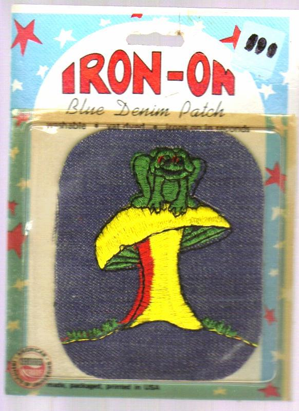 New but Vintage Blue Denim Iron-on Patch with Mushroom and Frog!