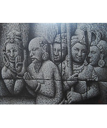 35x47 inch Acrylic Painting Original Hand Painted Medium Size Borobudur ... - $138.00