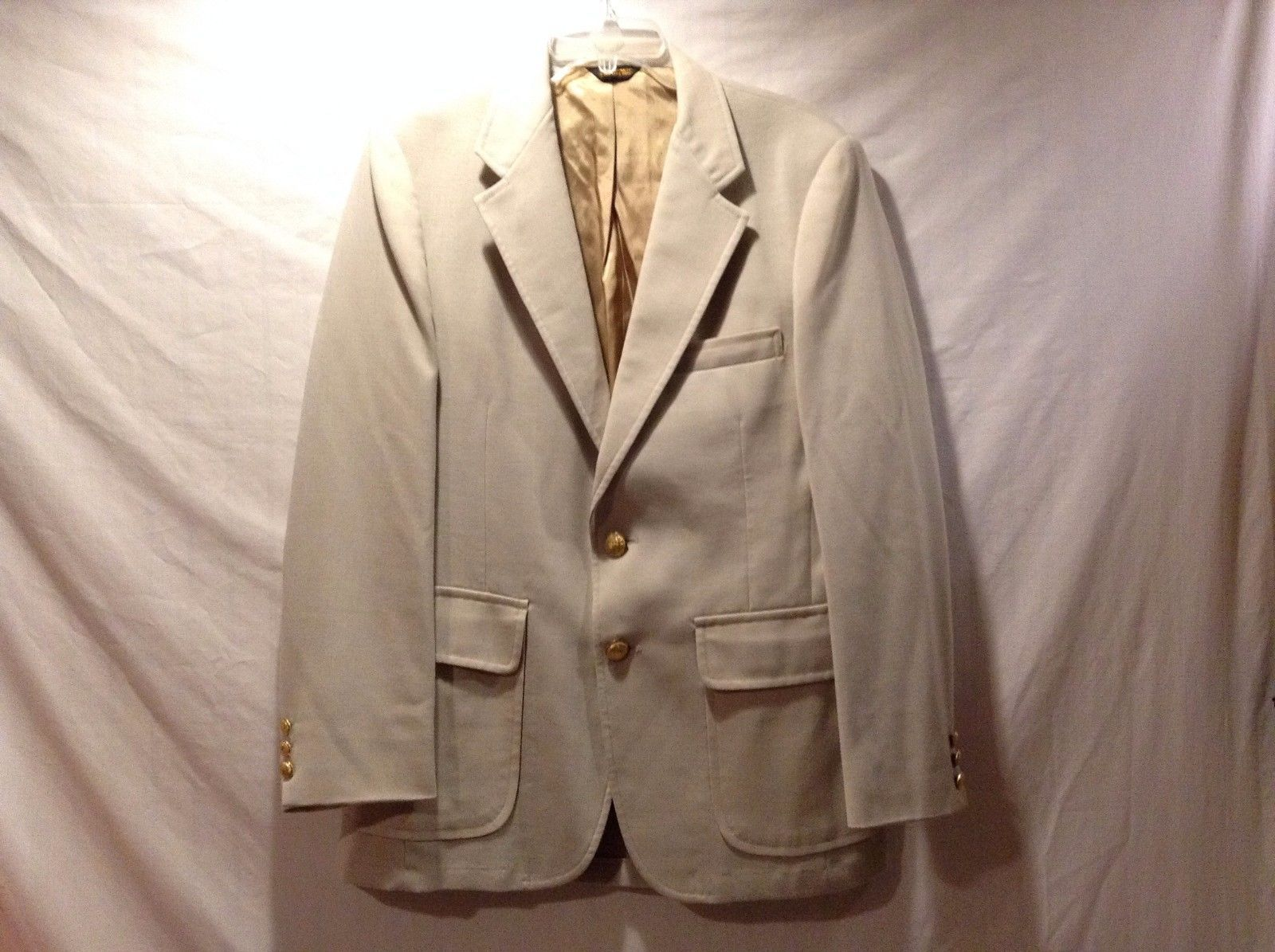Great Condition Asher Tan Suit Jacket 2 Inside Pockets Brass Inner Lining