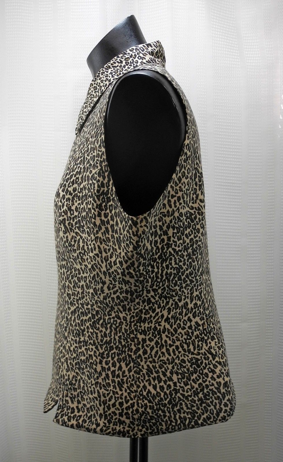 Silkland Leopard Print Lined Full Zip-Front Vest with Collar - Women's Size M