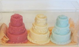 Birthday wedding cake  soap 3 pack  in clear gift box  bar  By Joanndles - $9.95