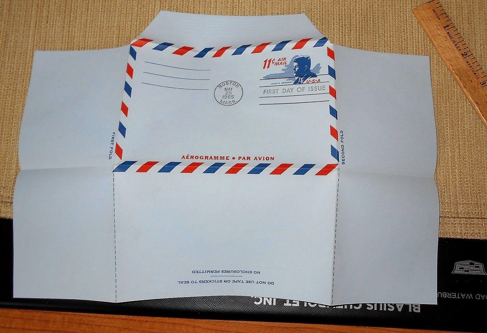 1965 11c John F. Kennedy Air Letter Sheet Postal Stationery FDC, No Writing