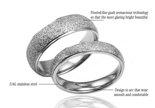 Couples Matching Titanium Steel Brushed Band Rings Free Shipping