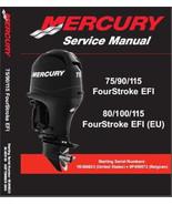 Mercury 75 90 115 EFI / 80 100 115 (EU) EFI Outboard Motors Service Manu... - $12.00