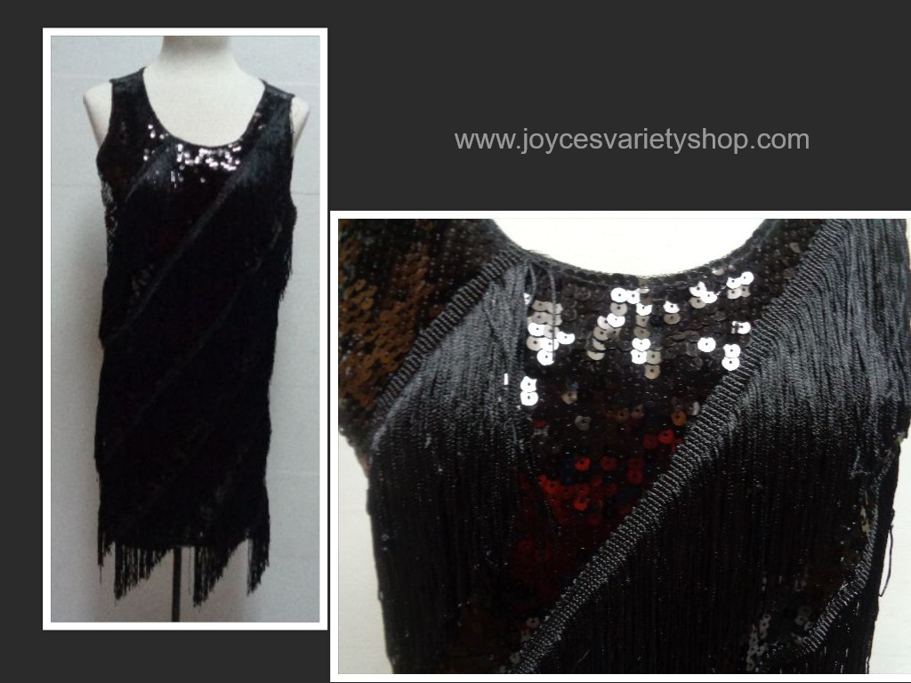 Black sequin flapper dress collage