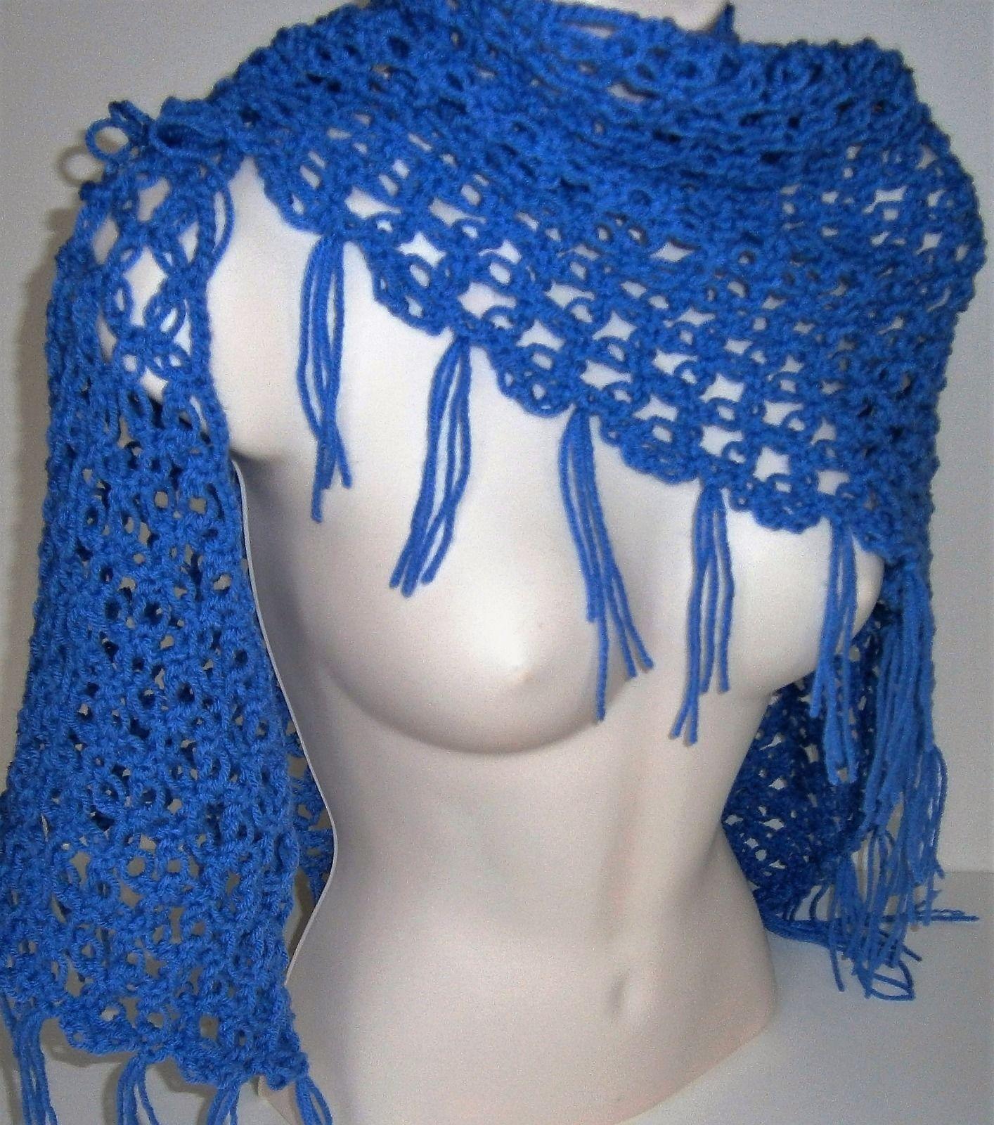 Blue Hydrangea Fantasy Shawl  Handmade Crochet Knit Wrap Scarf Stole Poncho