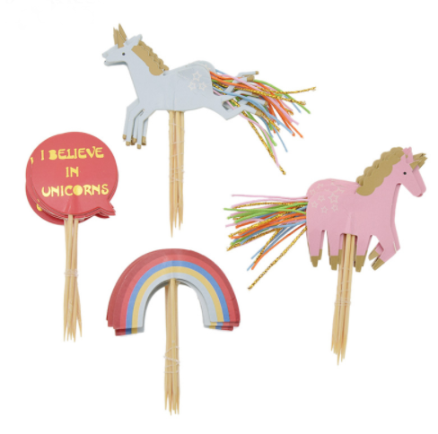 Primary image for 24pcs/set Unicorn Rainbow Cake Decorating Topper Supplies