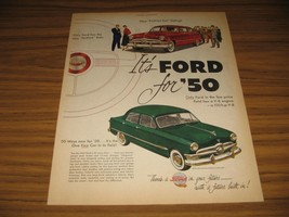 1950 Print Ad '50 Ford Cars Has New Hushed Ride Red & Green - $15.98