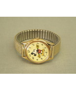 Vintage Mickey Mouse Wrist Watch Lorus Quartz Japan gold Speidel band V5... - $71.25