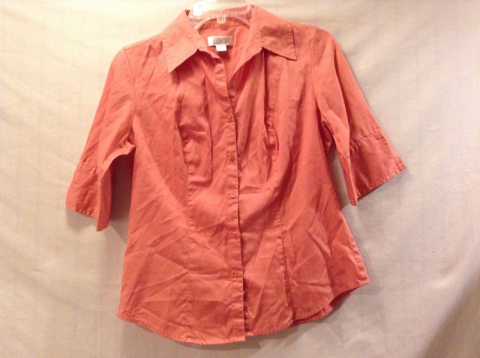 Great Condition Ann Taylor Loft Size 4 100% Cotton Pink Button Up Collar Shirt