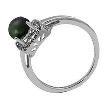 Shine Jewel Genuine Green Tourmaline Gemstone 92.5 Sterling Silver Ring - $26.72