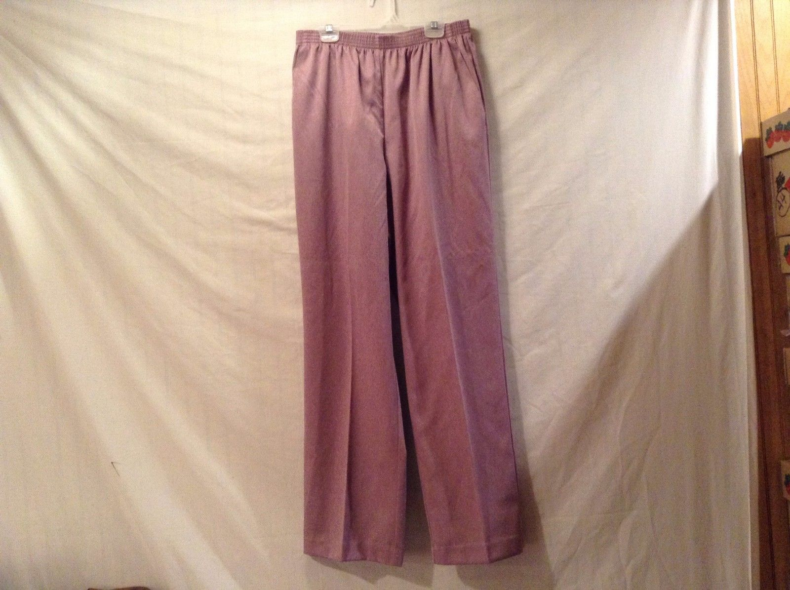 Great Condition Alfred Dunner 100% Polyester Elastic Top 2 Pocket Purple Pants