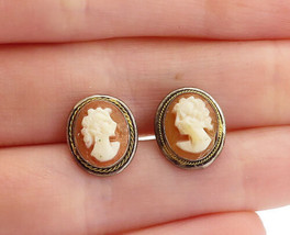 925 Sterling Silver  - Vintage Carved Shell Woman Cameo Stud Earrings - ... - $29.94