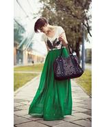 Spring Summer Vivid Green Chiffon Maxi Skirt. Long Skirt. Color Choice - $64.90