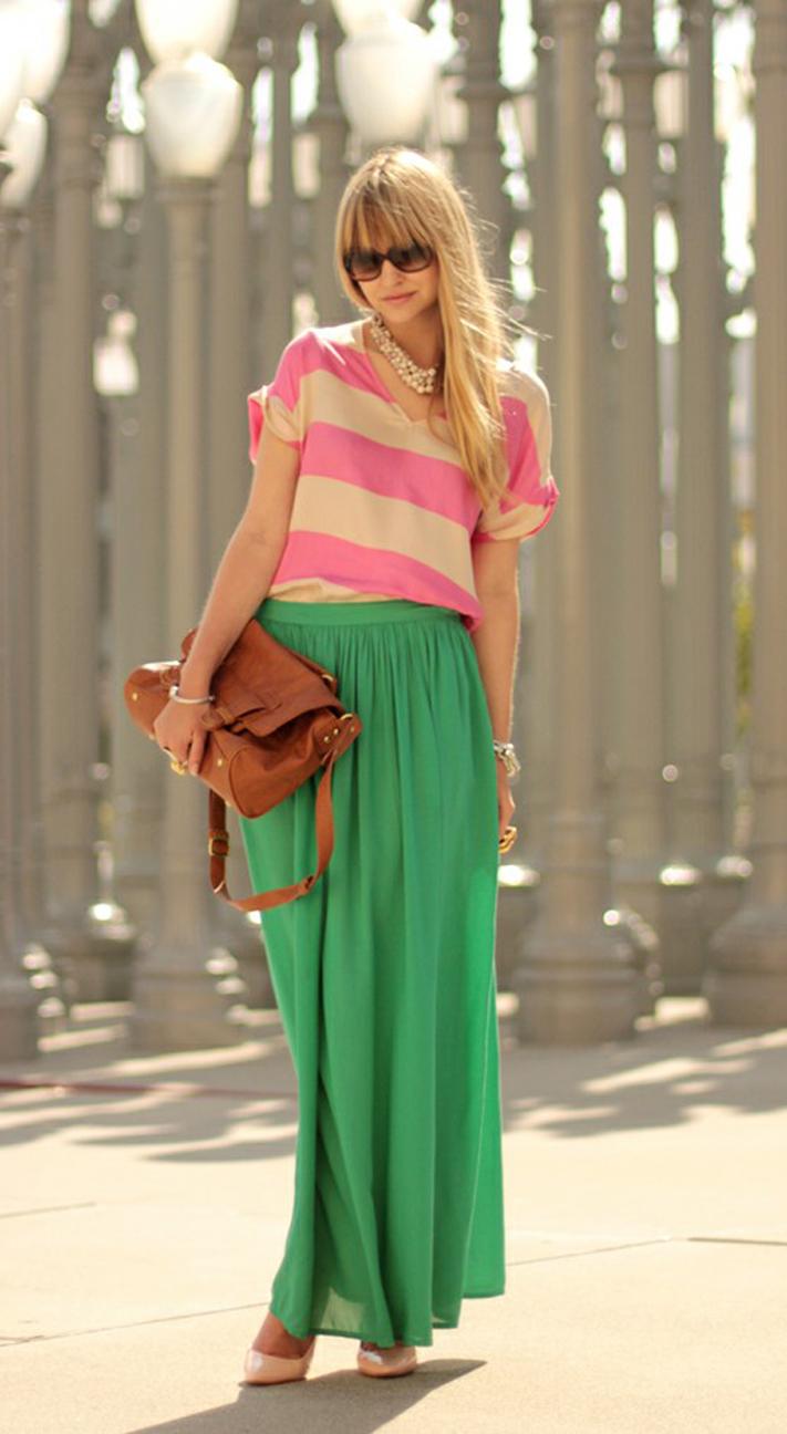 Spring Summer Vivid Green Chiffon Maxi Skirt. Long Skirt. Color Choice - Skirts