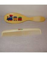 Vintage Deluxe Baby Comb Brush Set Train Flowers Boy Girl Novelty - $9.46