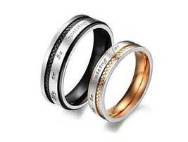 Couples Matching Titanium Steel Promise Rings Free Shipping - $50.00