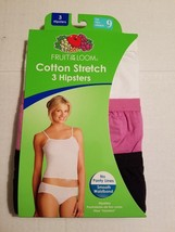 Fruit of the Loom Cotton Stretch Hipsters (3) Pack  Sizes  9 NIP - $9.74
