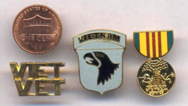 Vietnam Veterans' Small Hat & Lapel Crest Pin Assortment Of 3; Service, ... - $4.00