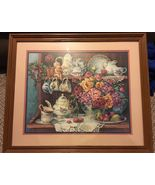Homco Country Kitchen Picture Print Barbara Mock Decor Flower Tea Floral  - $74.99