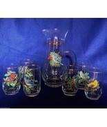 West Virginia Glass American Song Birds 7 piece juice set pitcher mid ce... - $34.64