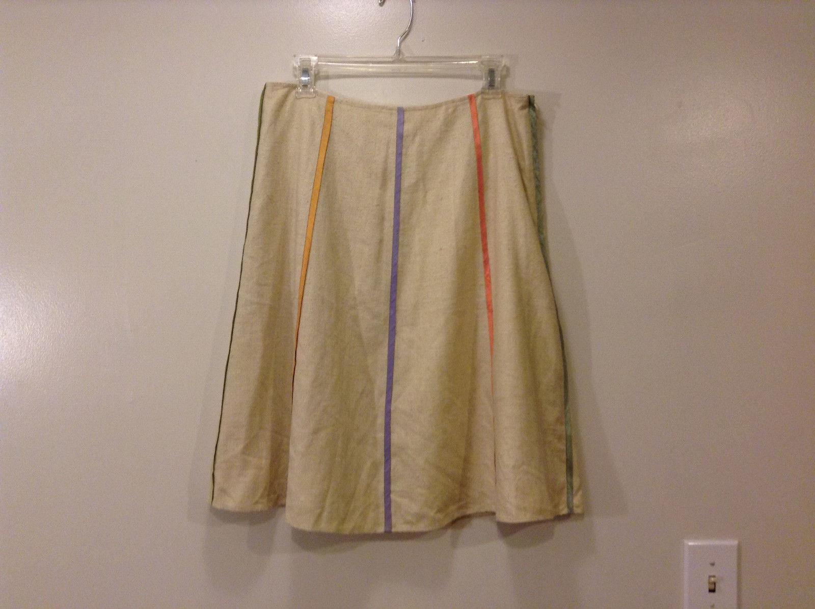 Annie Walwyn-Jones Custom Made Cream with Stripes A-line Skirt Size L 100% Silk