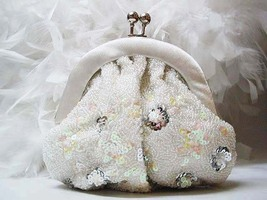 WEDDING FLORAL BEADED SEQUIN HANDBAG BRIDAL BRIDE BRIDESMAID ACCESSORIES... - $24.00
