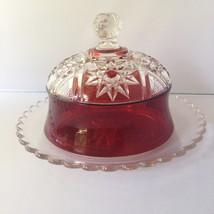Robinson's PURITAN Butter Dish EAPG Circa 1894 Ruby Clear Radiant Daisy ... - $24.95
