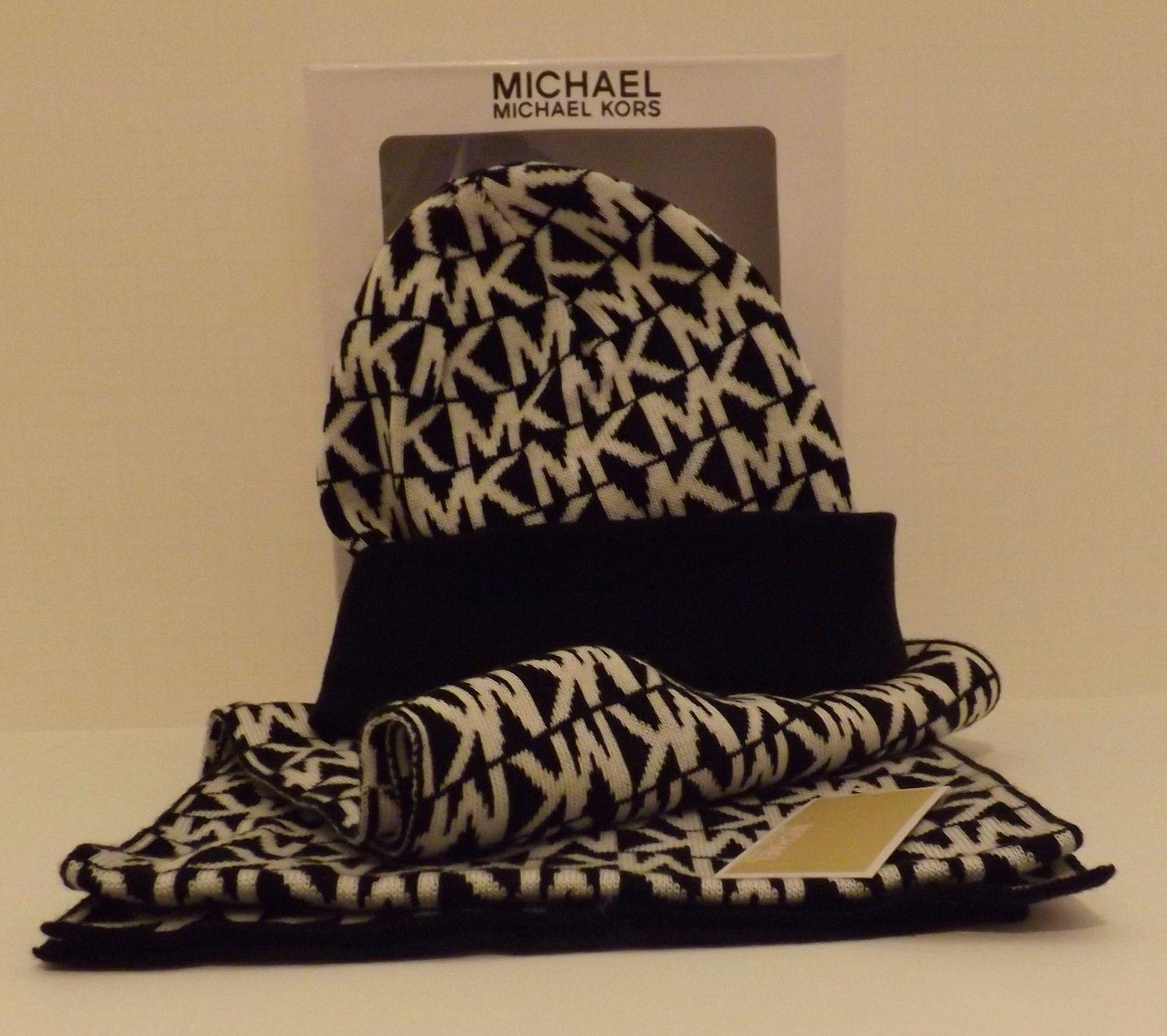 genuine michael kors black white s scarf and hat